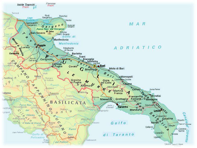 Puglia Cartina Mare.I Posti Piu Belli Della Puglia